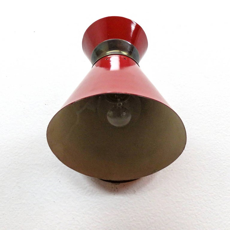 Metal Pair of French Double Cone Wall Lights, 1950 For Sale