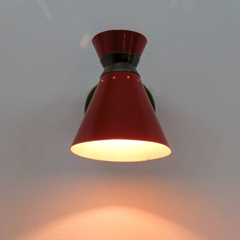 Pair of French Double Cone Wall Lights, 1950 For Sale 1