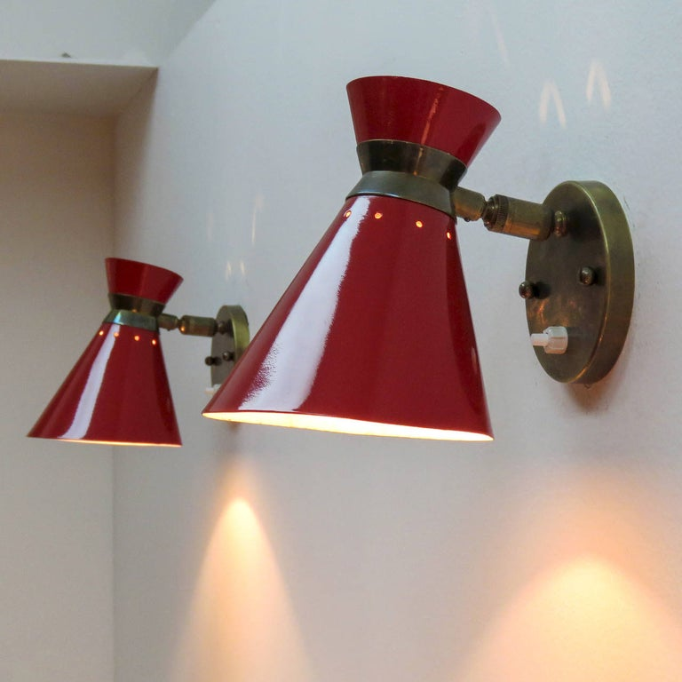 Pair of French Double Cone Wall Lights, 1950 For Sale 2