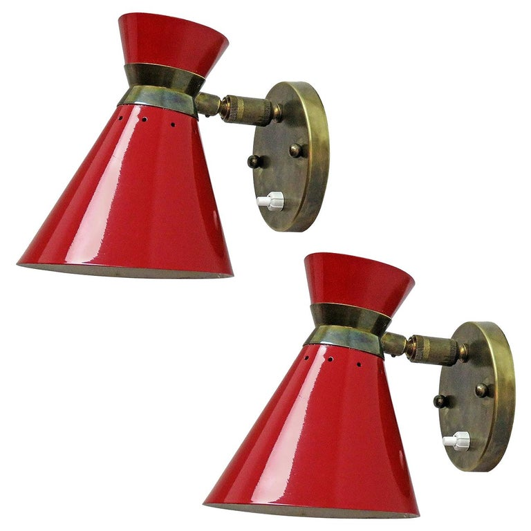 Pair of French Double Cone Wall Lights, 1950 For Sale