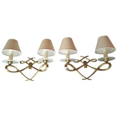 Pair of French Double Sconces Leleu Style by Arlus, France, 1950