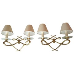 Pair of French Double Sconces Leleu Style by Arlus, France, 1950s