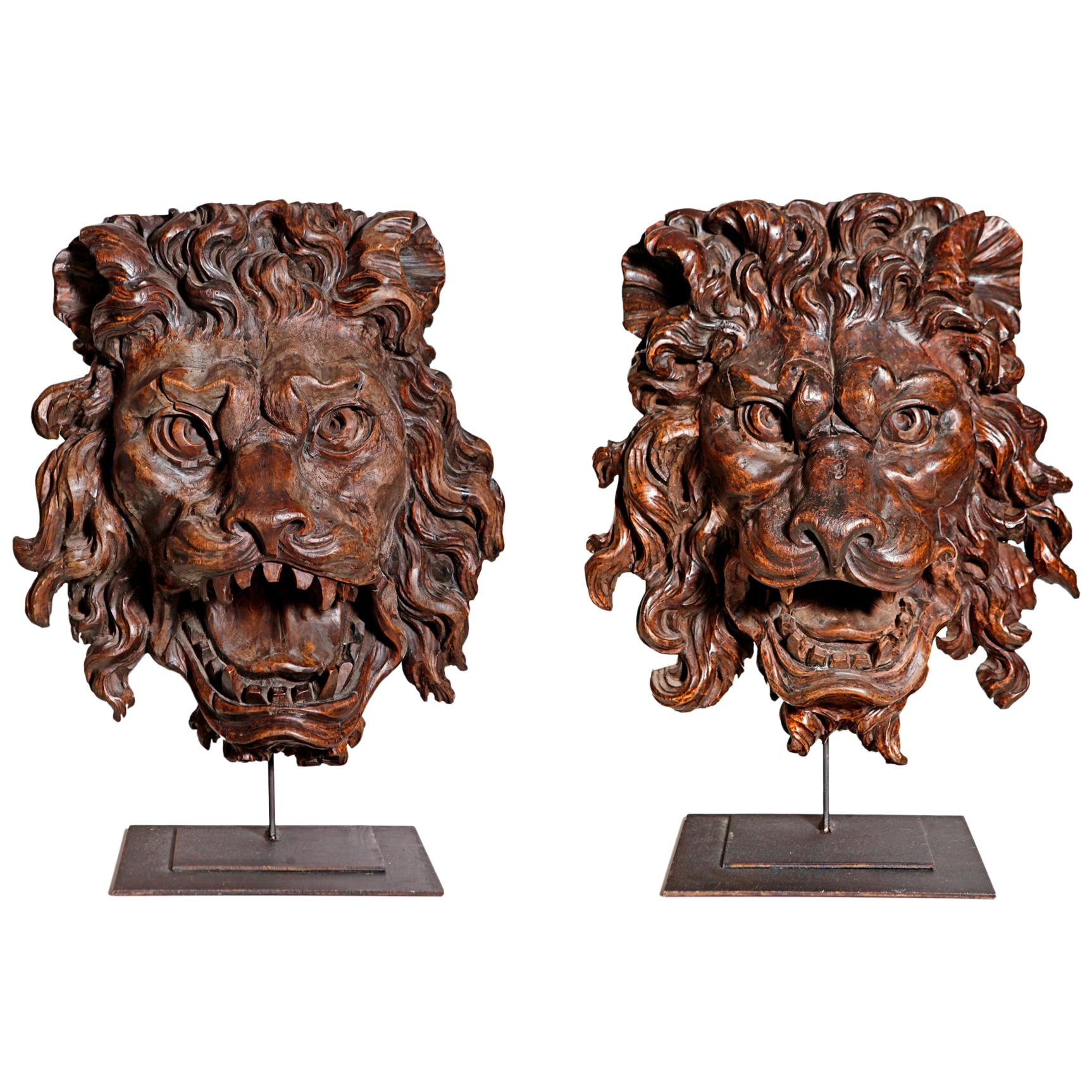 Pair of French Early 19th Century Carved Wood Lions
