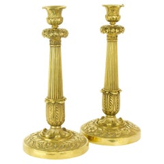 Pair of French Early 19th Century Empire Gilt-Bronze Candlesticks, circa 1820