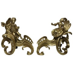 Pair of French Early 19th Century Louis XV Style Gilt-Bronze Andirons Chenets