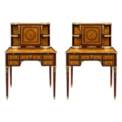 Pair of French Early 19th Century Louis XVI St. Mahogany Bonheurs Du Jours