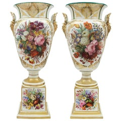Pair of French Early 19th Century Louis XVI Style Sèvres Porcelain Vases