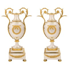 Pair of French Early 19th Century Neoclassical Style Ormolu and Bronze Urns
