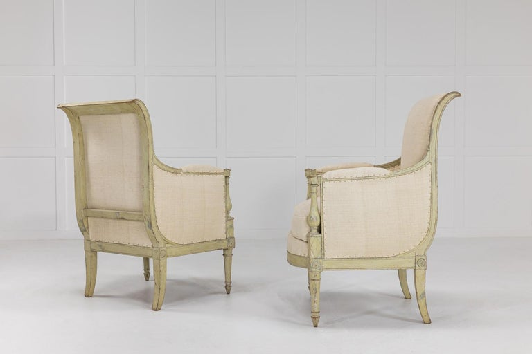Pair of French Early 19th Century Painted Armchairs In Good Condition For Sale In Husbands Bosworth, Leicestershire