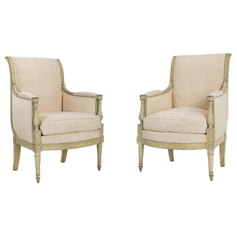 Pair of French Early 19th Century Painted Armchairs For Sale