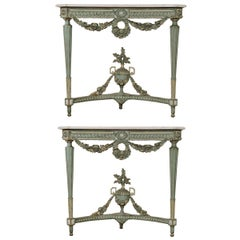 Pair of French Early 19th Century Painted Louis XVI Period Consoles