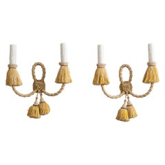 Pair of French Early 20th Century Corded and Tasselated Two-Light Sconces