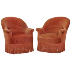 Pair of French Early 20th Century Upholstered Tub Chairs