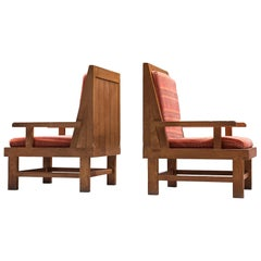 Pair of French Easy Chairs in Oak, 1920s