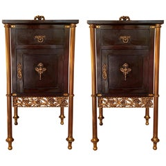 Pair of French Ebonized Mahogany Nightstands with Fluted Bronze Columns