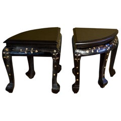 Pair of French Ebonized Stools