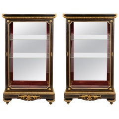 Pair of French Ebony and Ormolu Vitrines, circa 1870