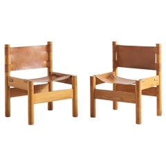 Pair of French Elm Wood and Saddle Leather Lounge Chairs
