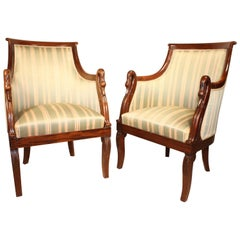 Pair of French Empire Armchairs in Mahogany