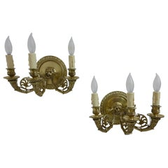 Pair of French Empire Brass Sconces, Early 19th Century