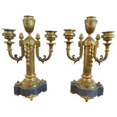 Pair of French Empire Bronze and Marble Three-Arm Candelabra