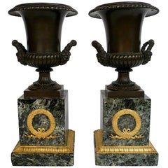 Pair of French Empire Bronze and Marble Urns