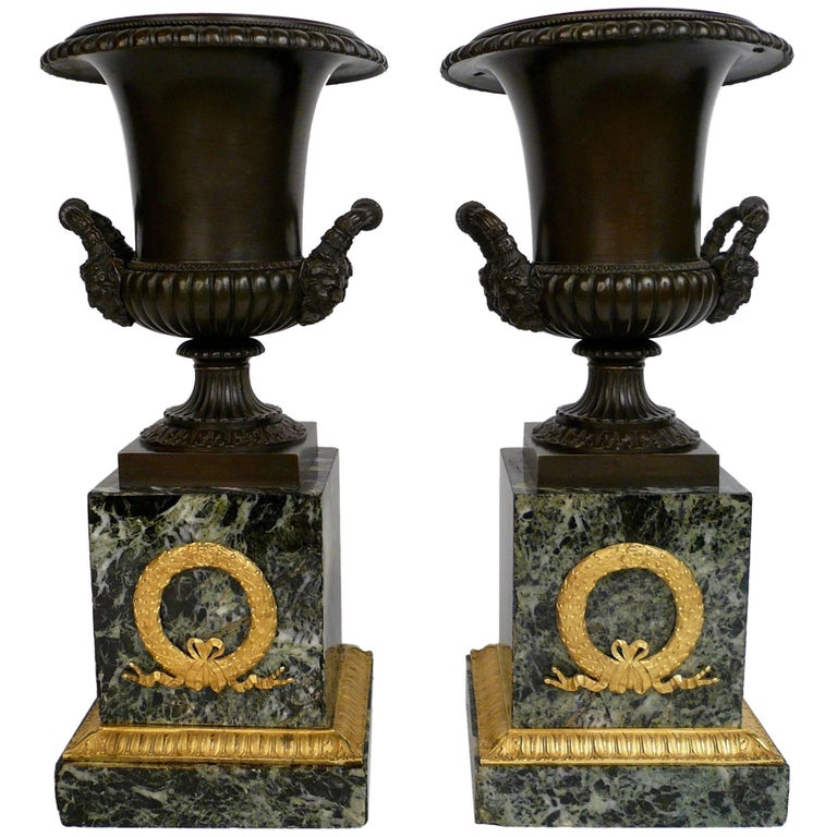 Pair of French Empire Bronze and Marble Urns For Sale