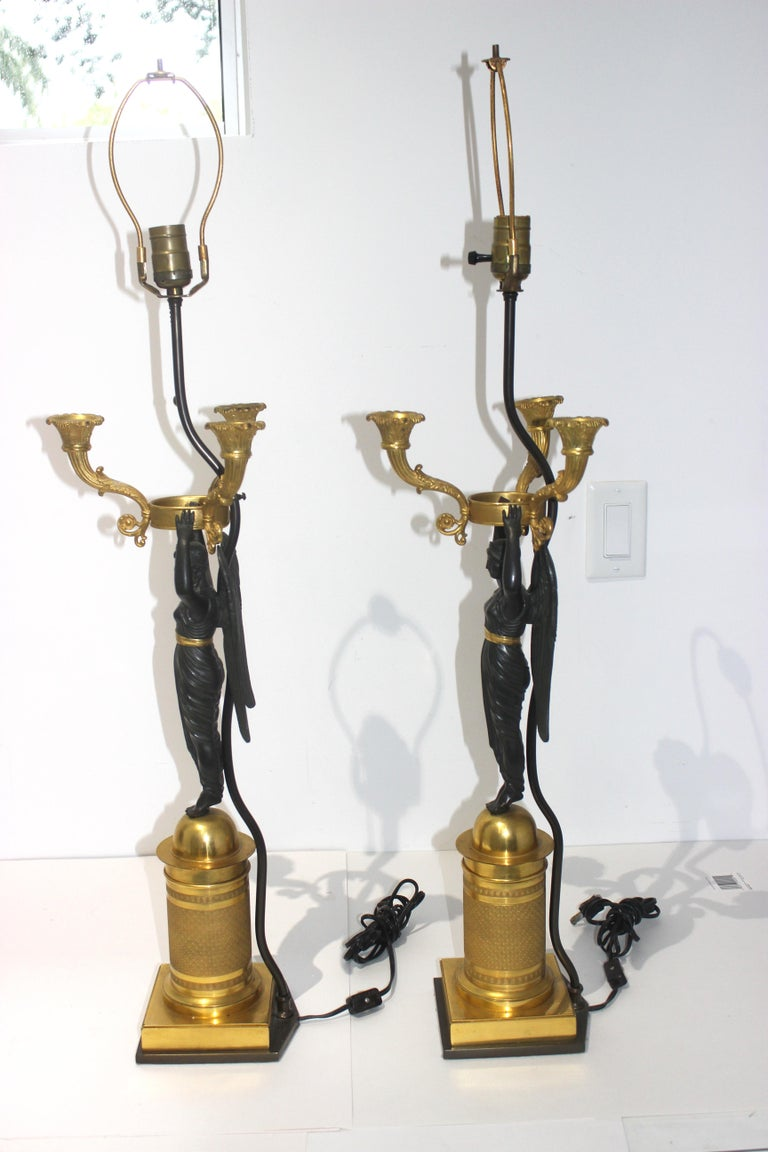 Pair of French Empire Bronze Candleabra Lamps For Sale 6