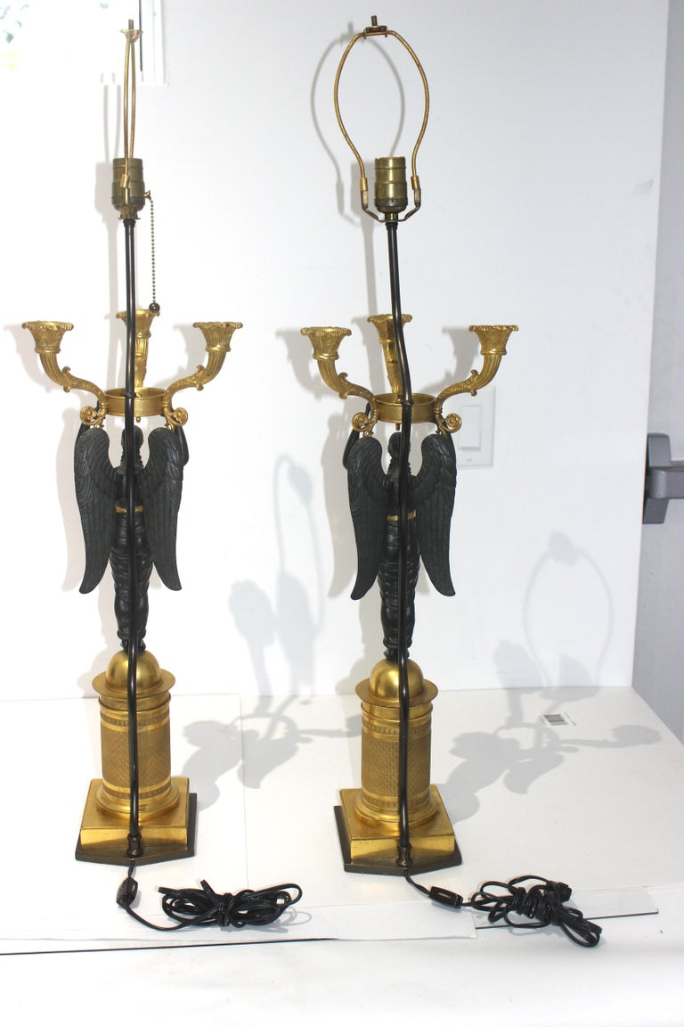 Pair of French Empire Bronze Candleabra Lamps For Sale 7