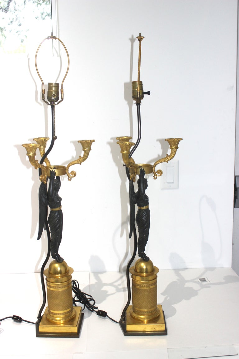 Pair of French Empire Bronze Candleabra Lamps For Sale 8