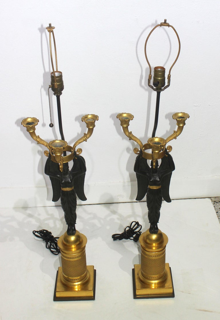 Pair of French Empire Bronze Candleabra Lamps For Sale 9