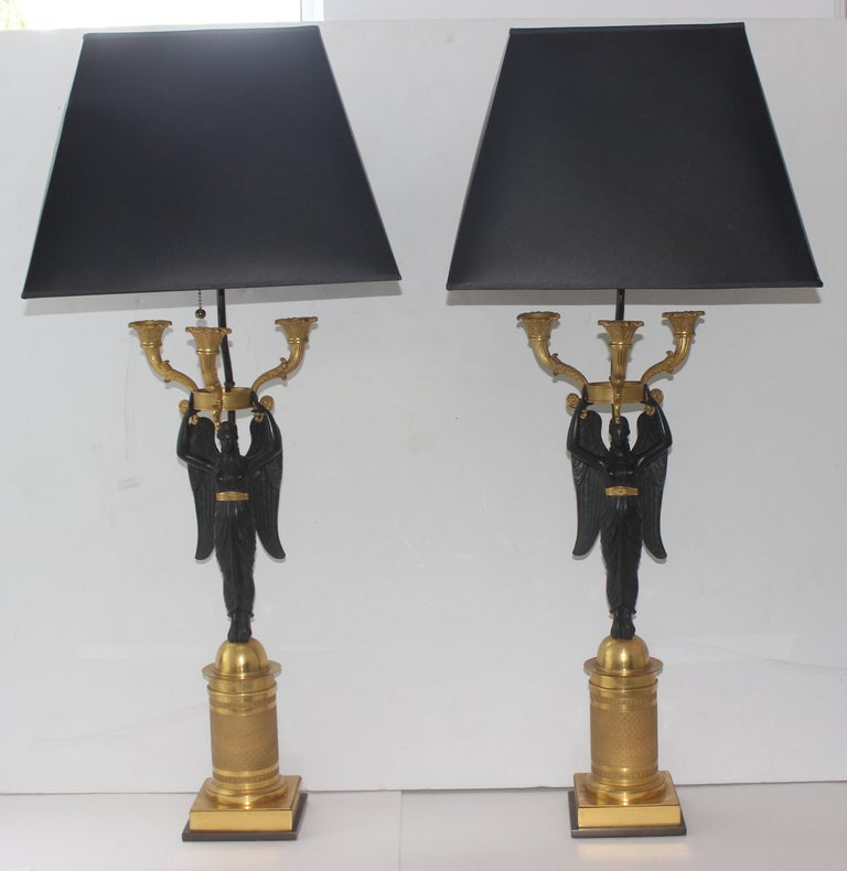 19th Century Pair of French Empire Bronze Candleabra Lamps For Sale