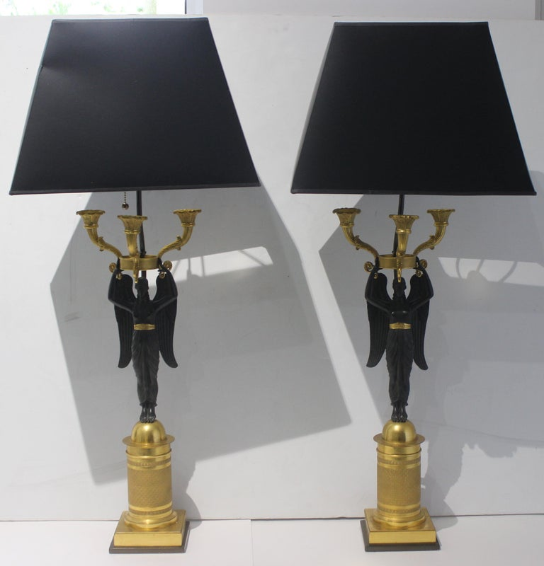 Pair of French Empire Bronze Candleabra Lamps For Sale 1