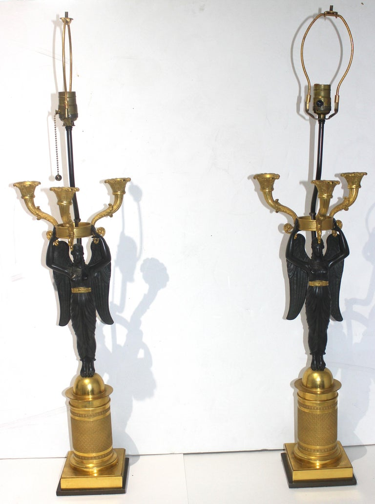 Pair of French Empire Bronze Candleabra Lamps For Sale 2