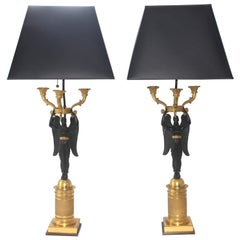 Pair of French Empire Bronze Candleabra Lamps