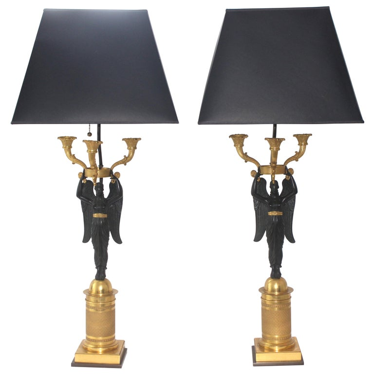 Pair of French Empire Bronze Candleabra Lamps For Sale
