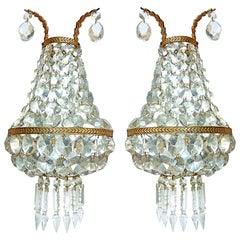Pair of French Empire Bronze Mirrored Crystal Double Light Sconces / Wall Lights