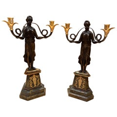 Pair of French Empire Candelabras on Marble bases, 20th Century