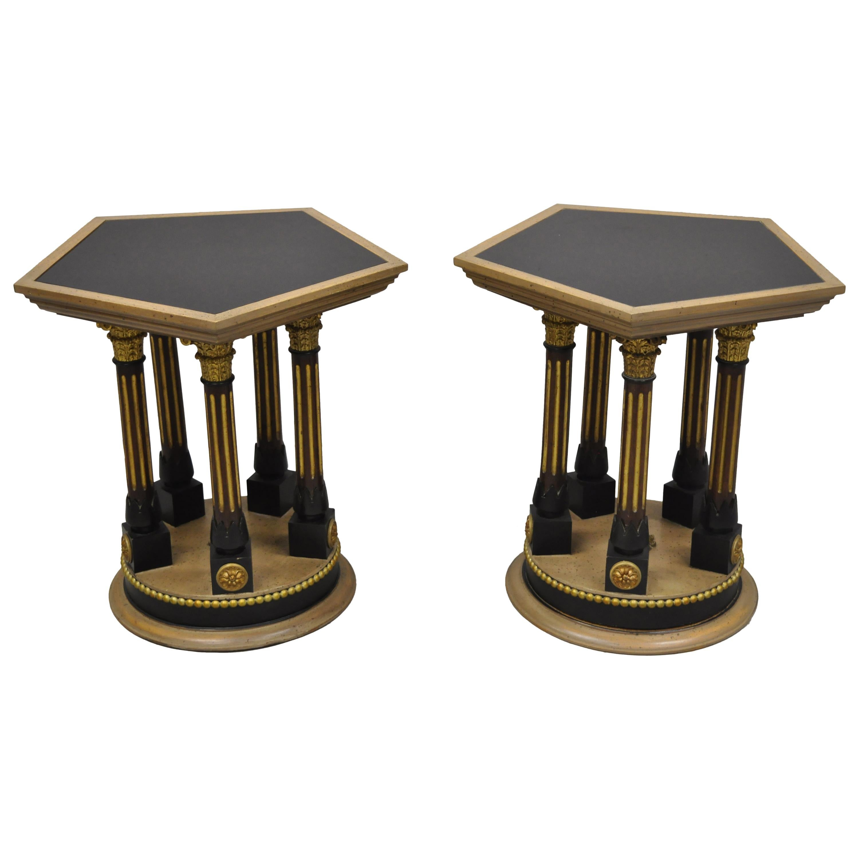 Pair of French Empire Corinthian Column Glass Top Hexagon Small Side Tables