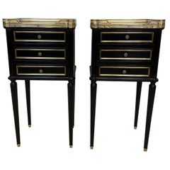 Pair of French Empire Ebonized Nightstands