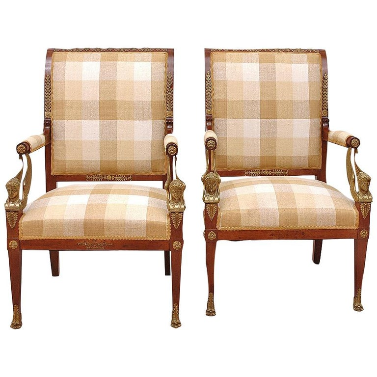 Pair of French Empire Fauteuils in Mahogany with Bronze Doré Ormolu, circa 1810 For Sale