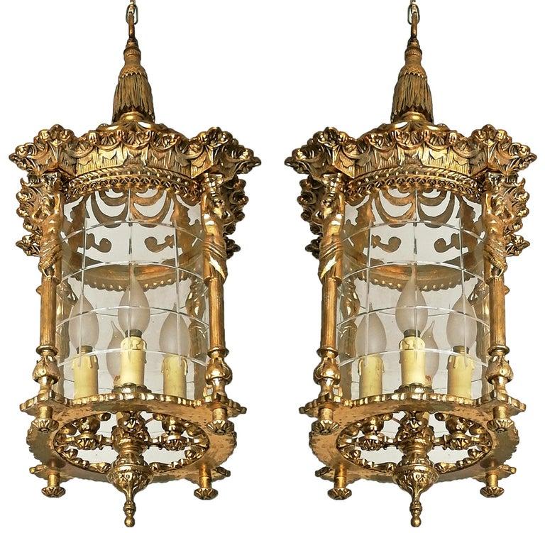 Zwei Französische Empire Vergoldete Bronze Schliff Glas Laterne/Kronleuchter mit 4 Leuchten 2