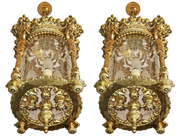 Cast Pair French Empire Caryatids Gilded Bronze Cut Glass 4-Light Lantern Chandelier For Sale