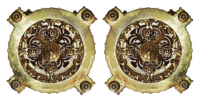 Zwei Französische Empire Vergoldete Bronze Schliff Glas Laterne/Kronleuchter mit 4 Leuchten 4