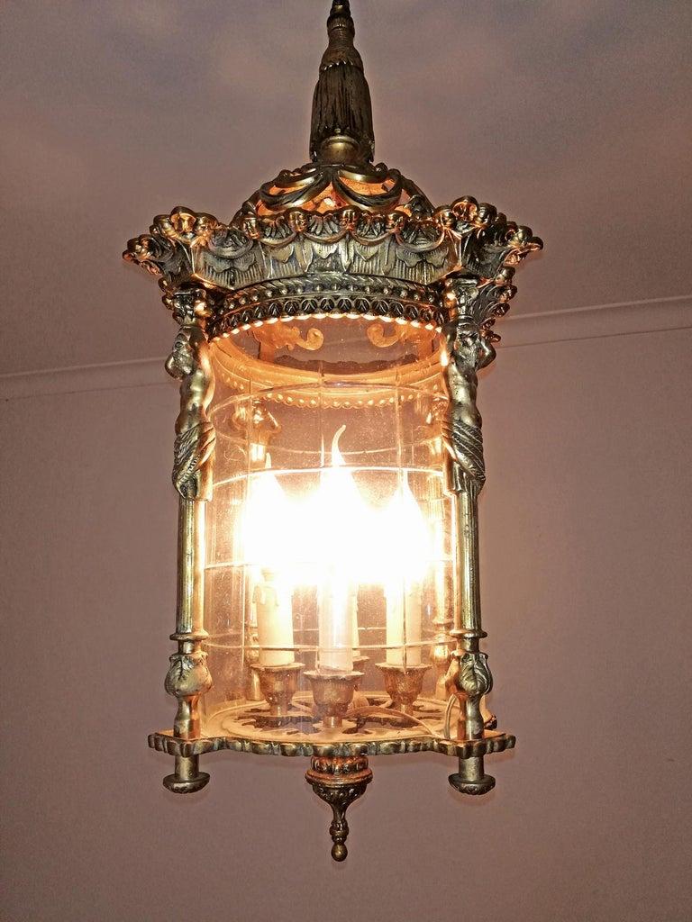 Zwei Französische Empire Vergoldete Bronze Schliff Glas Laterne/Kronleuchter mit 4 Leuchten 5