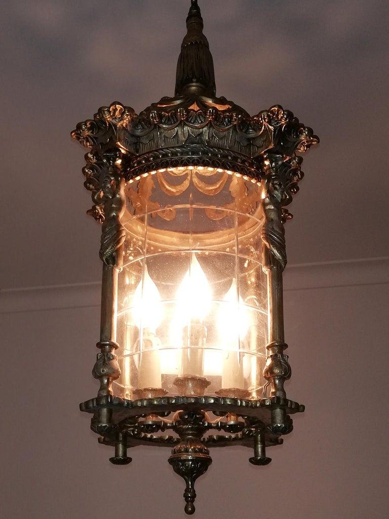 Zwei Französische Empire Vergoldete Bronze Schliff Glas Laterne/Kronleuchter mit 4 Leuchten 6
