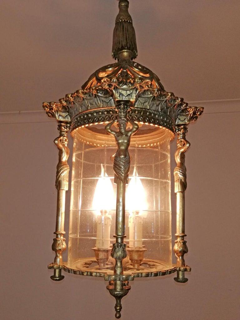 Zwei Französische Empire Vergoldete Bronze Schliff Glas Laterne/Kronleuchter mit 4 Leuchten 7