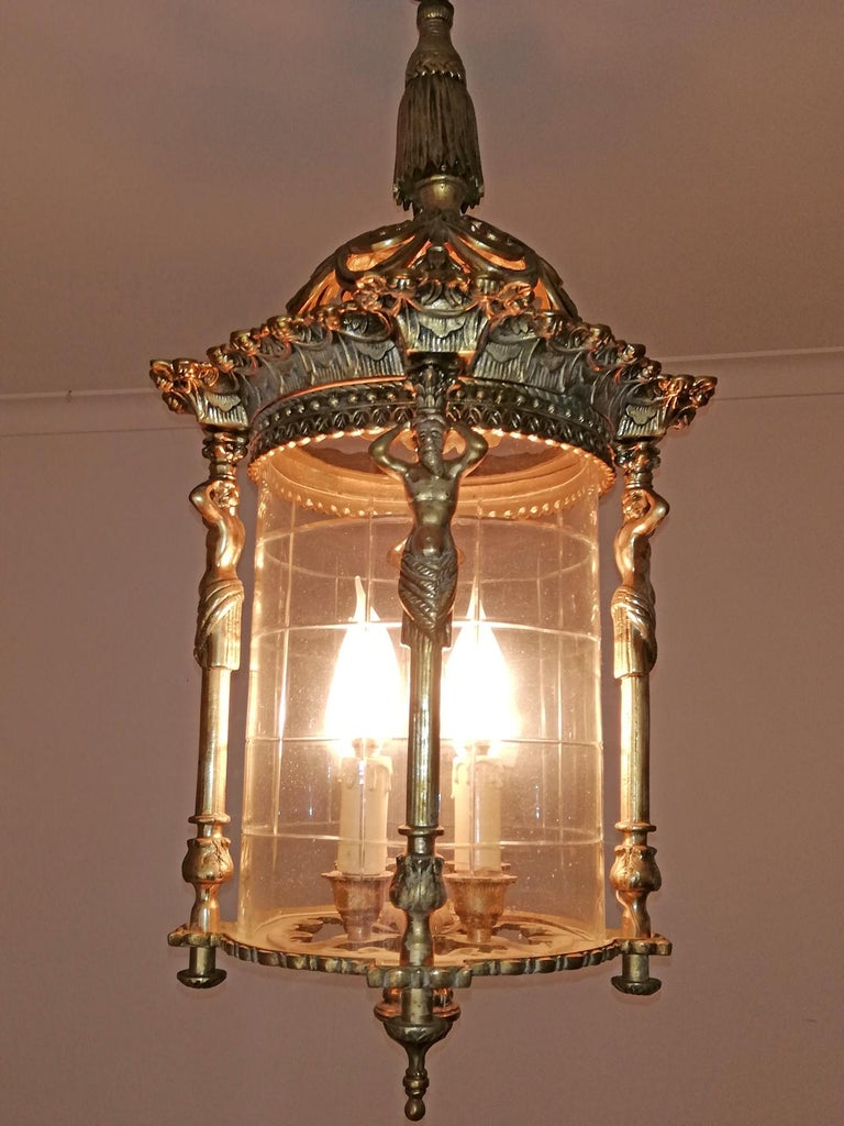 Pair French Empire Caryatids Gilded Bronze Cut Glass 4-Light Lantern Chandelier For Sale 2