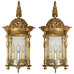 Pair of French Empire Fire Gilded Bronze Cut Glass Four-Light Lantern Chandelier