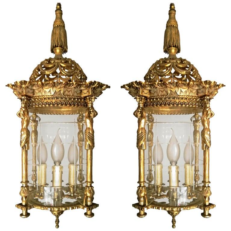 Zwei Französische Empire Vergoldete Bronze Schliff Glas Laterne/Kronleuchter mit 4 Leuchten 1